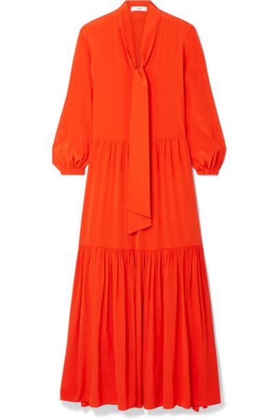 Tibi - Pussy-bow Tiered Silk Crepe De Chine Maxi Dress - Bright orange