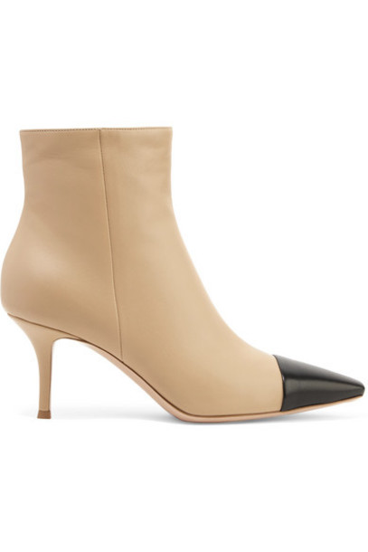 Gianvito Rossi - 70 Two-tone Leather Ankle Boots - Beige