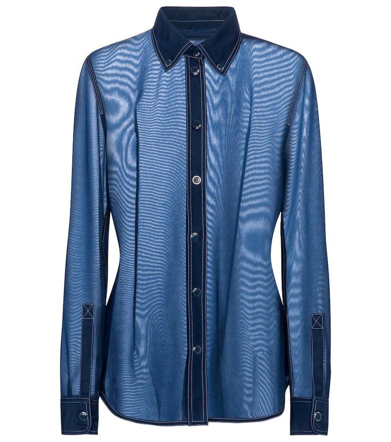Burberry Semi-sheer denim-trimmed shirt in blue