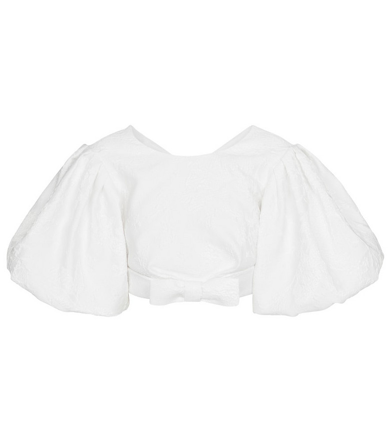 RASARIO Jacquard crop top in white