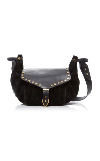 Isabel Marant Sinley Studded Leather and Velvet Shoulder Bag in black