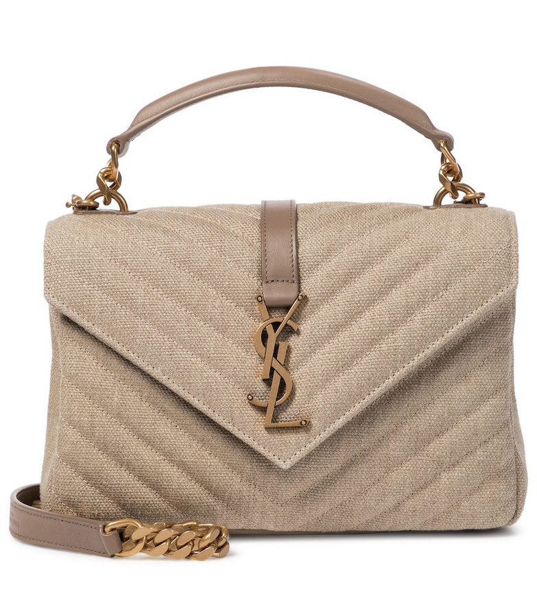 Saint Laurent Loulou Small linen shoulder bag in beige