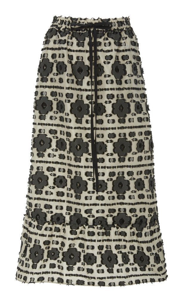 Red Valentino Floral Fil Coupe Skirt in black / white