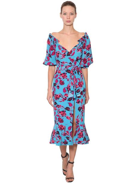 SALONI Olivia Floral Printed Silk Crepe Dress in blue / multi