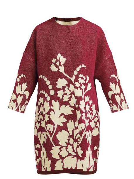 Marit Ilison - Reversible Floral Intarsia Cotton Coat - Womens - Burgundy Multi