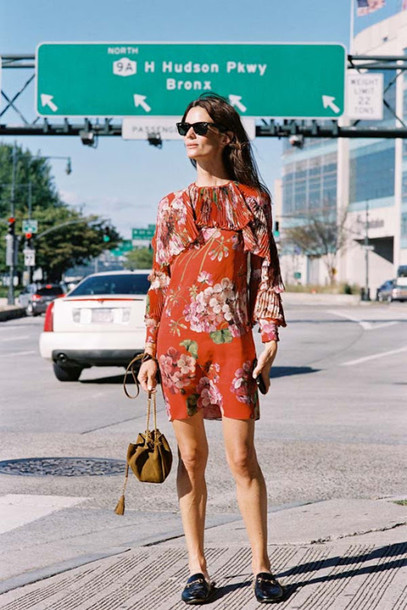 vanessa jackman blogger dress bag gucci princetown gucci gucci shoes floral dress red dress mini dress long sleeves long sleeve dress ruffle ruffle dress sunglasses black sunglasses brown bag spring outfits