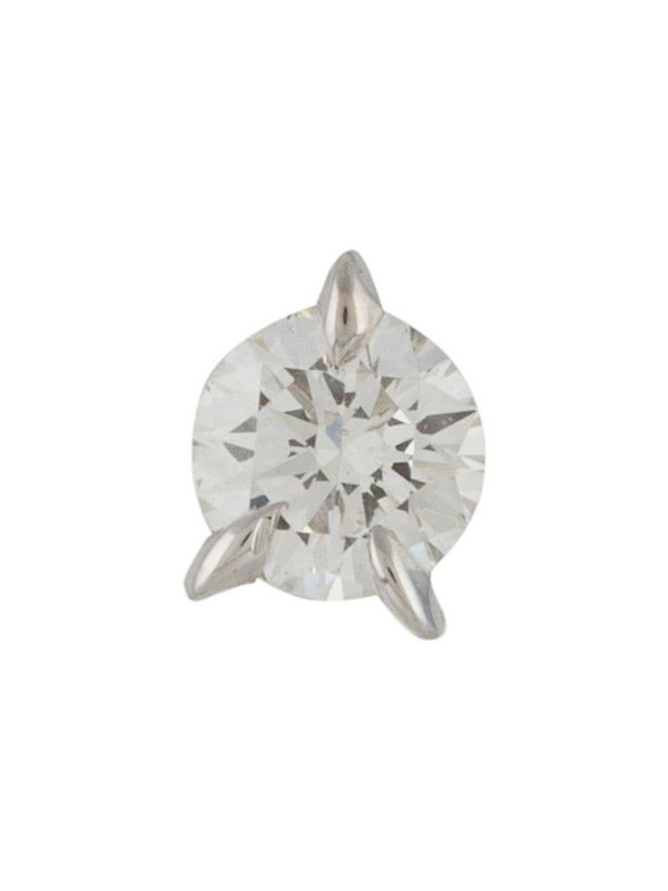 LE STER 18kt white gold diamond Bombette stud single earring in silver