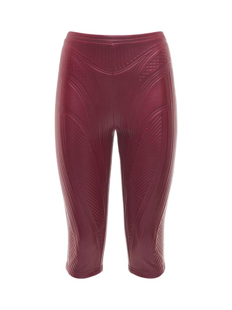 MUGLER Embossed Shiny Jersey Biker Pants in red