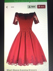 dress,red,short,short sleeved,evening dress,prom,prom dress