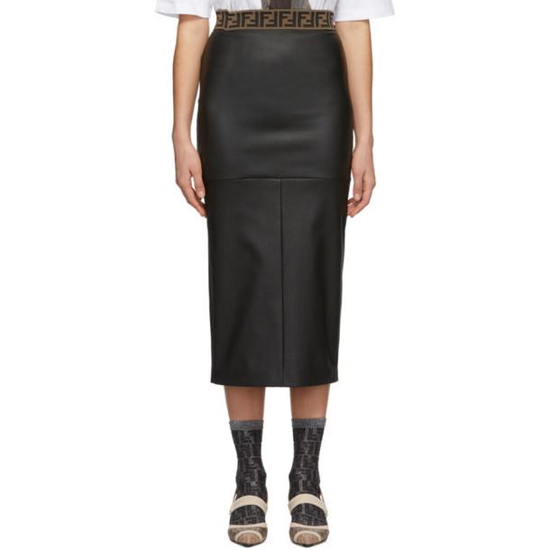 Fendi Black Leather Forever Fendi Skirt