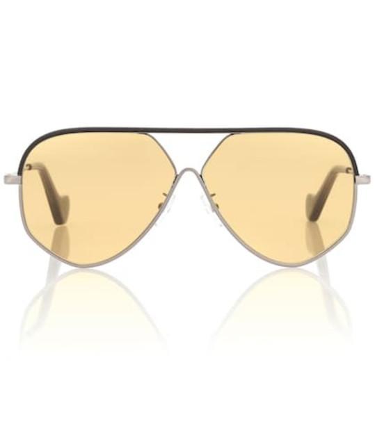 Loewe Pilot leather aviator sunglasses in black