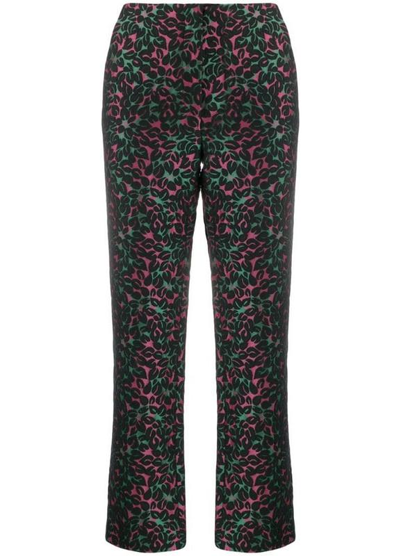 Miu Miu Pre-Owned floral print trousers in black