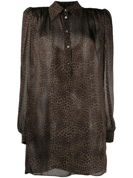 John Richmond long-sleeved leopard print shirt dress in neutrals
