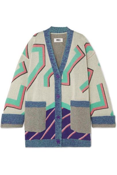 MM6 Maison Margiela - Oversized Wool-blend Jacquard Cardigan - Off-white