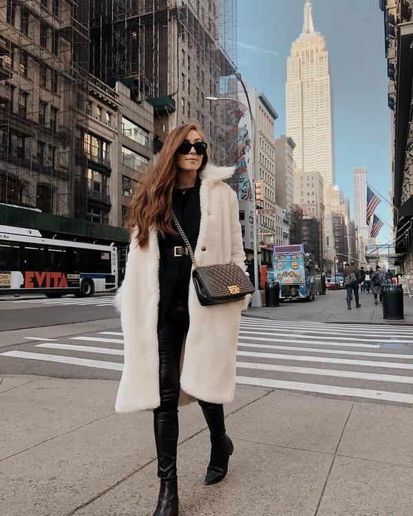 coat white coat black boots ankle boots black leather pants skinny pants black sweater black bag