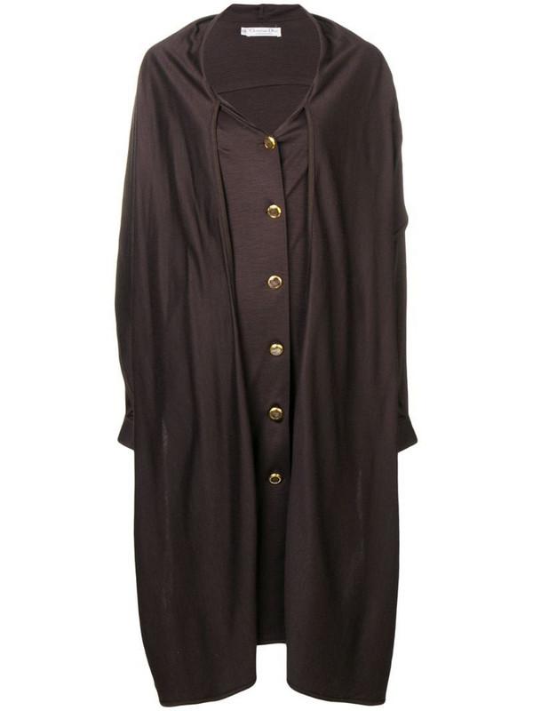 Christian Dior 1980's pre-owned midi coat in brown