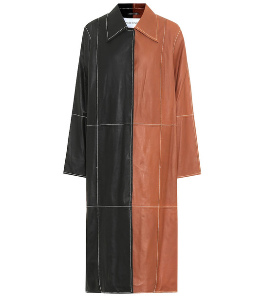 Stand Studio Nino leather coat in black