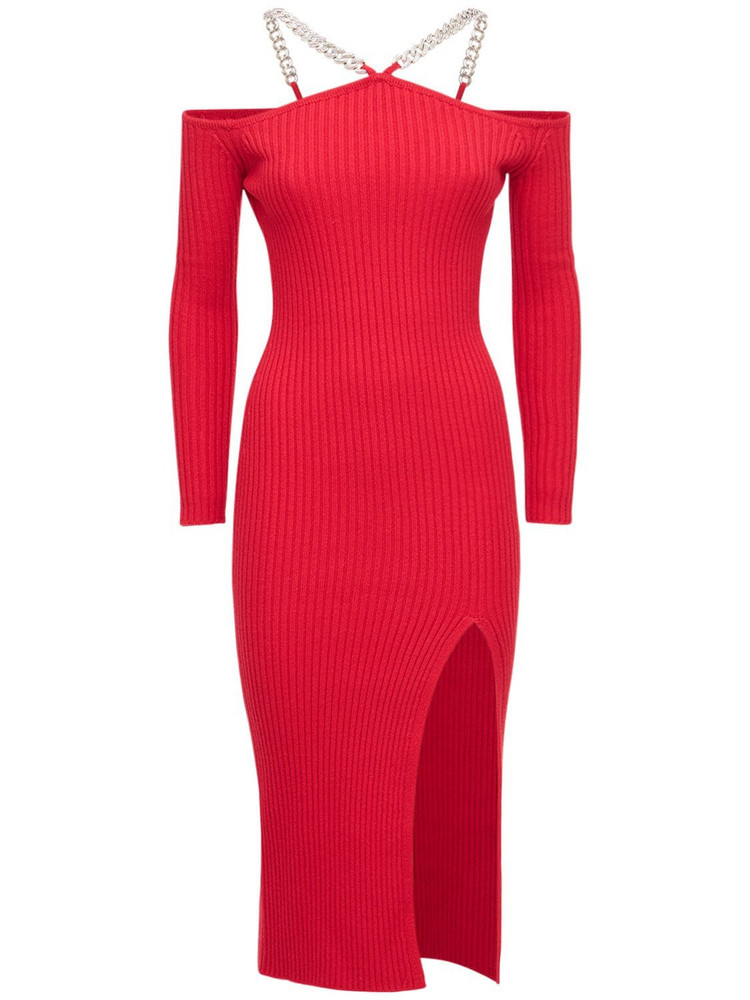 GIUSEPPE DI MORABITO Wool Blend Off-the Shoulder Midi Dress in red