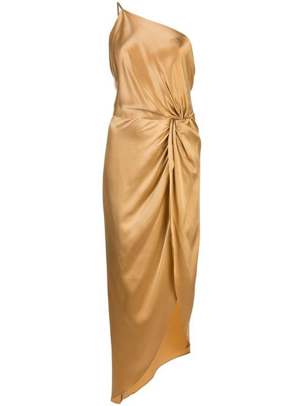 Michelle Mason twist knot asymmetric dress in yellow
