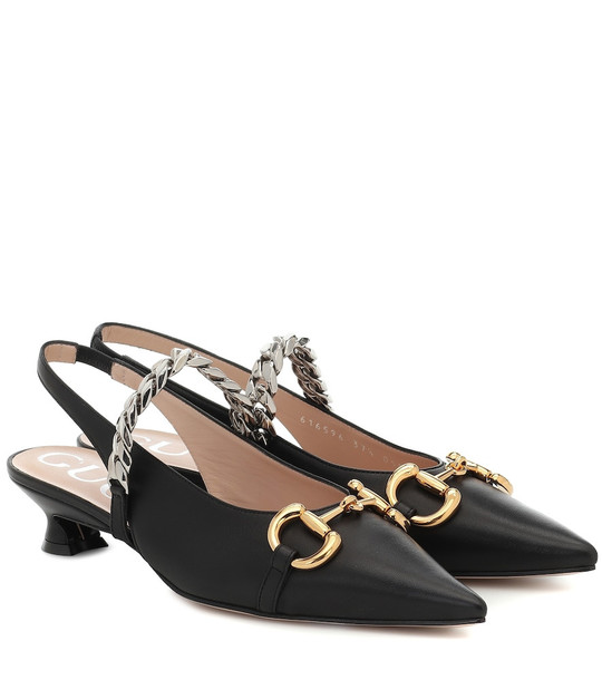 Gucci Horsebit leather slingback pumps in black