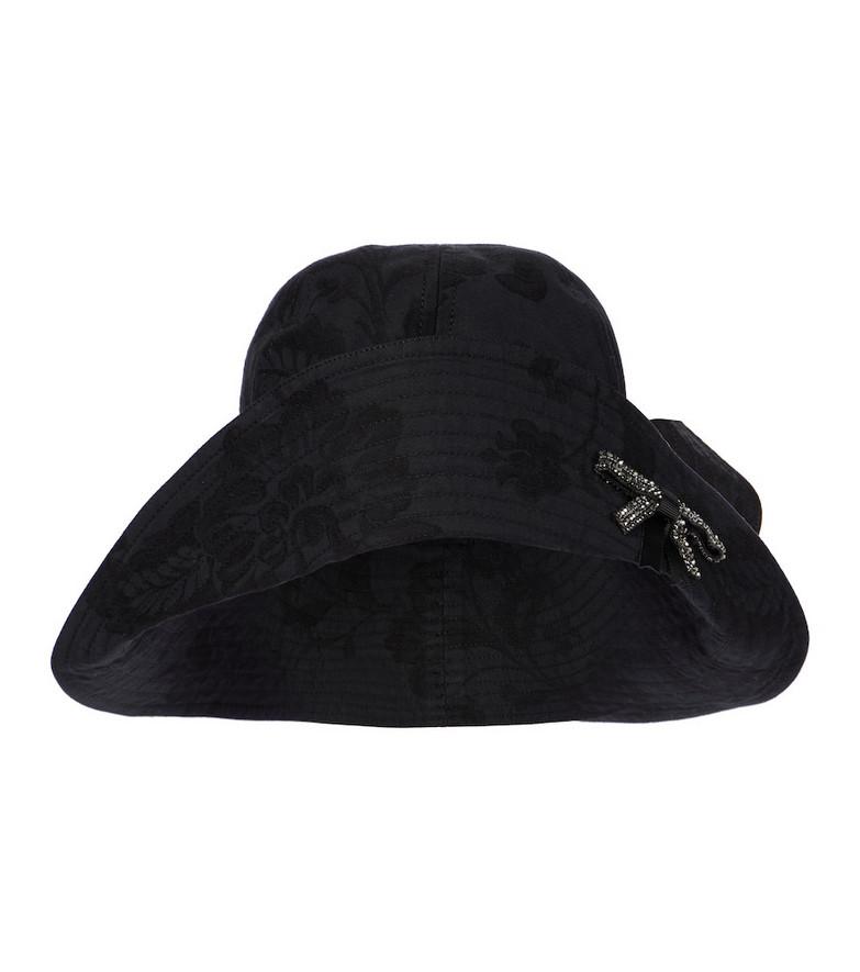 Erdem Embellished cotton bucket hat in black