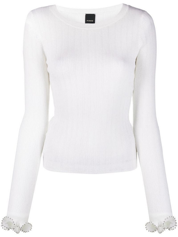 Pinko ribbed knit jumper in white