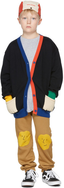 Bobo Choses Kids Multicolor Knitted Cardigan in blue