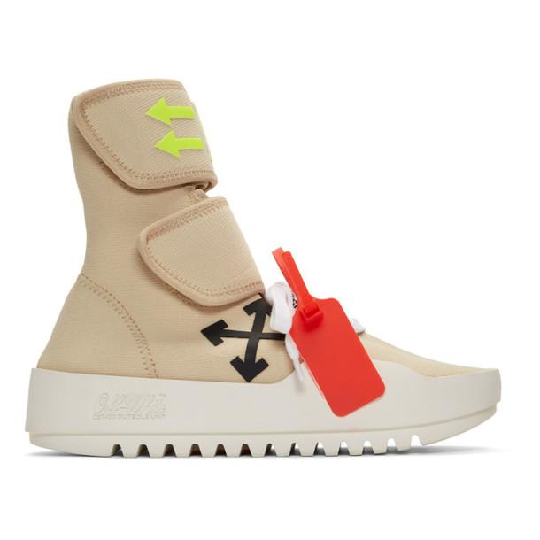 Off-White Beige Moto Wrap Sneakers