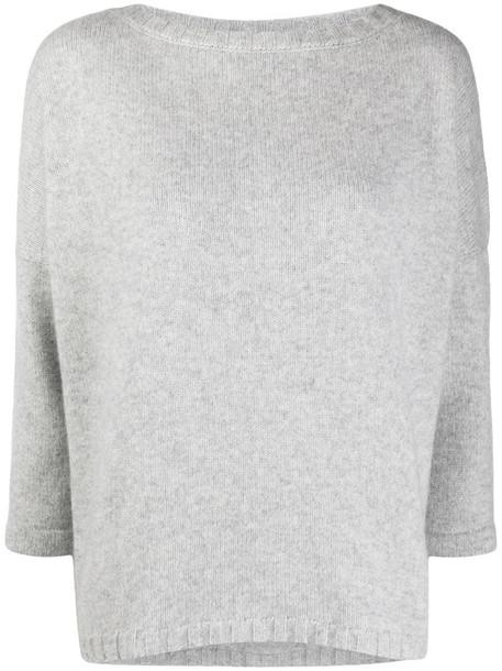 Snobby Sheep bracelet-sleeve loose fit sweater in grey