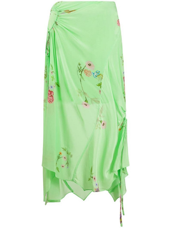 Preen Line Arya gathered floral skirt in green