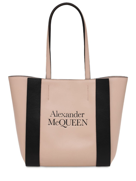 ALEXANDER MCQUEEN Small Signature Leather Tote in beige