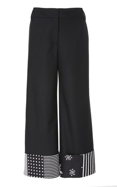 MONSE Bandana Cuffed Wool-Blend Pants in black