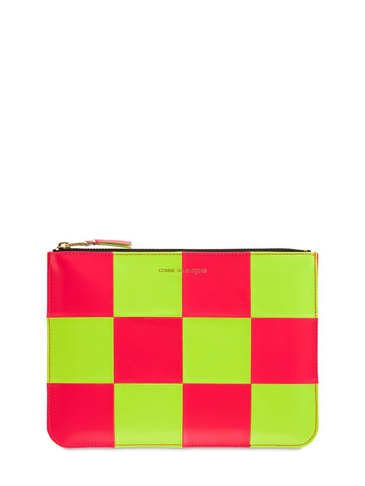 COMME DES GARÇONS WALLET Fluo Squares Leather Pouch in pink / yellow