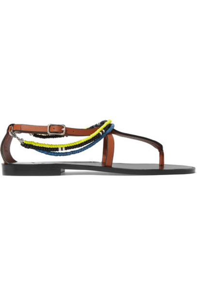 Loewe - Paula's Ibiza Embellished Leather Sandals - Tan