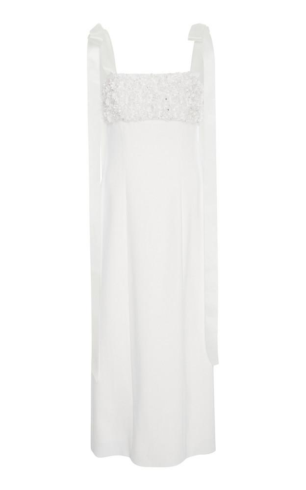Carolina Herrera Hyacinth Embellished Cropped Crepe de Chine Column Dress in ivory