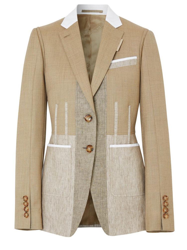 BURBERRY Color Block Wool Gabardine Blazer in beige