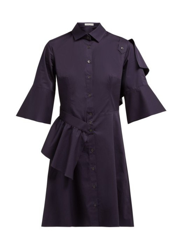 Palmer/harding Palmer//harding - Sash Ruffle Trimmed Cotton Blend Shirtdress - Womens - Navy
