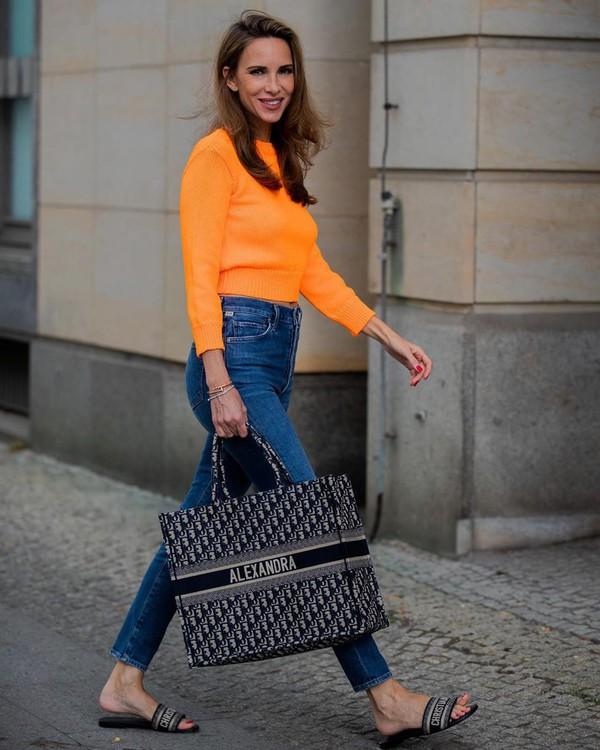 sweater high waisted jeans skinny jeans slide shoes handbag dior bag