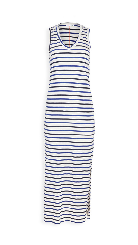 SUNDRY Maxi Tank Dress in blue / natural