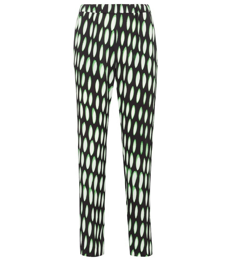 Dries Van Noten Printed high-rise slim stretch-crêpe pants in black