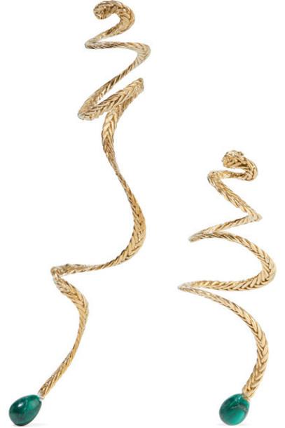 STVDIO - Anais Gold-tone Malachite Earrings