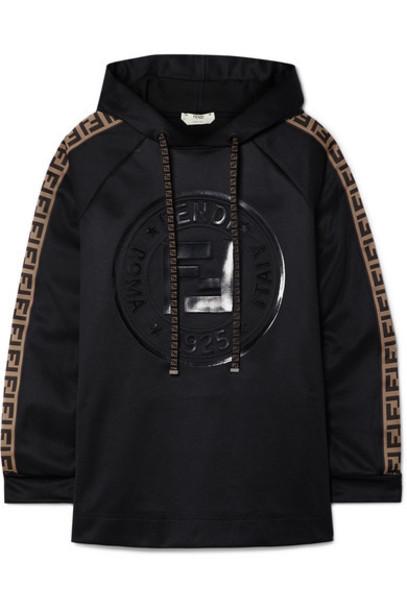 Fendi - Fendirama Printed Jacquard-trimmed Satin-jersey Hoodie - Black