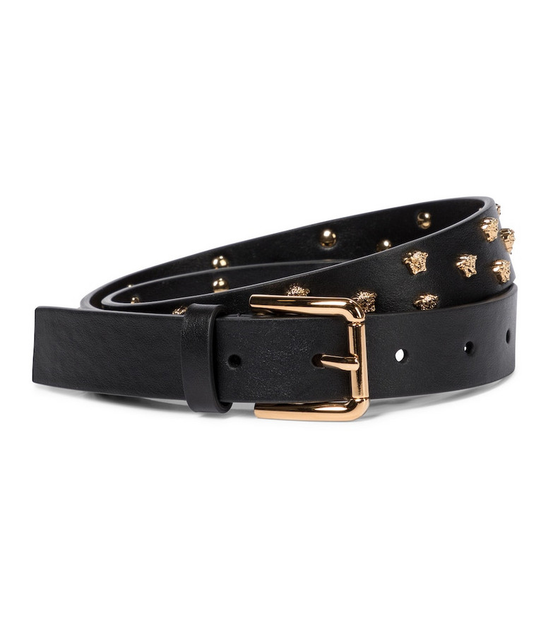 Versace Studded leather belt in black
