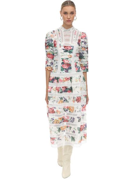 ZIMMERMANN Printed Lace & linen Midi Dress in white