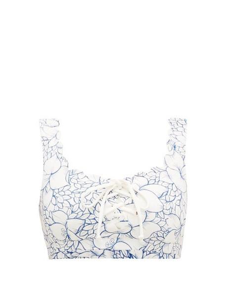 Marysia - Palm Springs Scalloped Floral-print Bikini Top - Womens - Blue Print