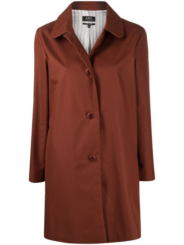 A.P.C. button-up shirt jacket in brown