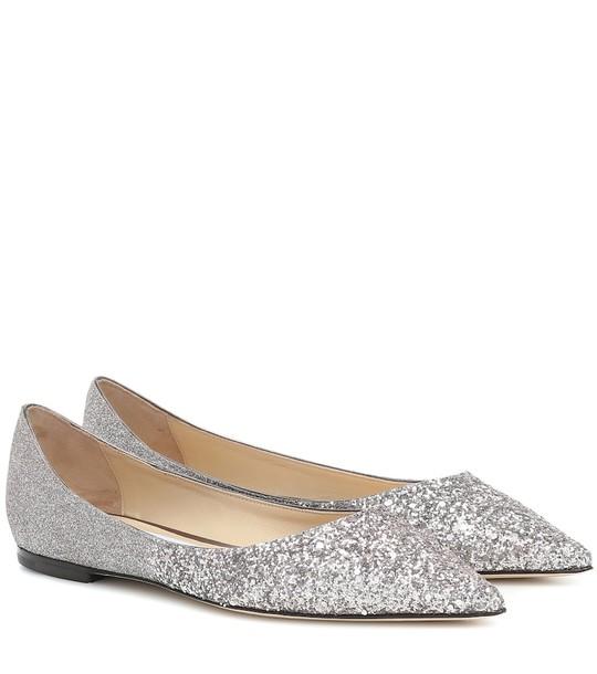 Jimmy Choo Love glitter ballet flats in silver