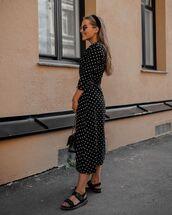 dress,midi dress,black dress,long sleeves,polka dots,black sandals,bag