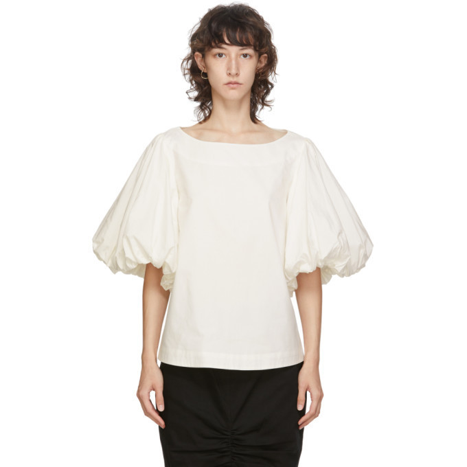 Edit White Balloon Sleeve Top in ivory
