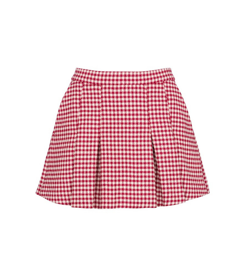 REDValentino houndstooth wool-blend shorts in red